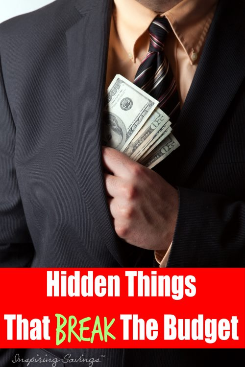 Man tucking money inside his suit jacket - Hidden things that break the budget