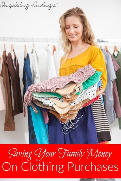 "Woman hold clothing to try on with text overlay ""Saving your family money on clothing purchases"""