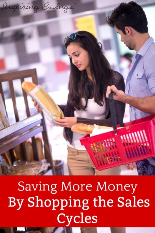 Couple shopping in grocery store - shopping the sale cycles