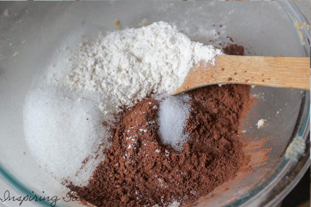 Dry ingredients for brownie batter