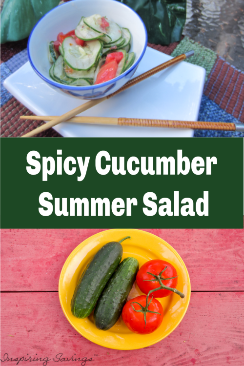 This Cucumber Salad packs a spicy kick. Perfect for summer barbecues and picnics. A combination of chopped tomatoes, cucumbers and chili pepper flakes. Spice up your next BBQ with this simple and refreshing salad!