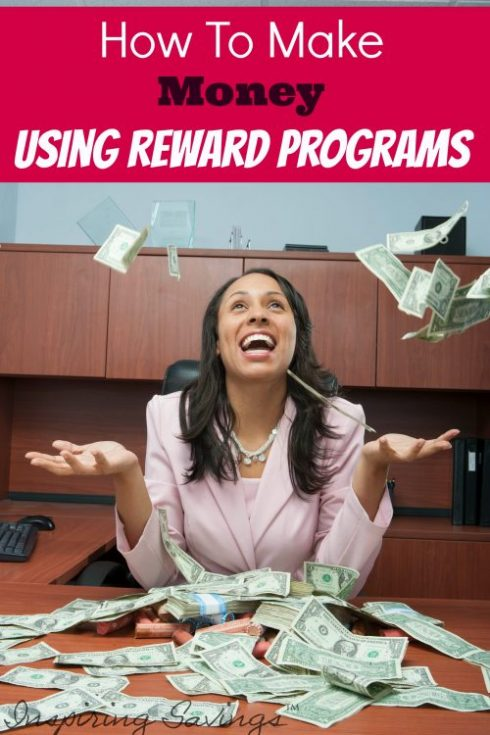 """happy woman at desk throw money in the air with text overlay """"How to make money using reward programs"""""""