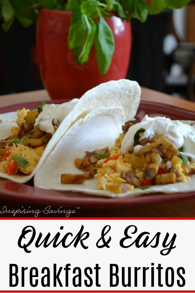 Breakfast Burritos on red plate ready to serve