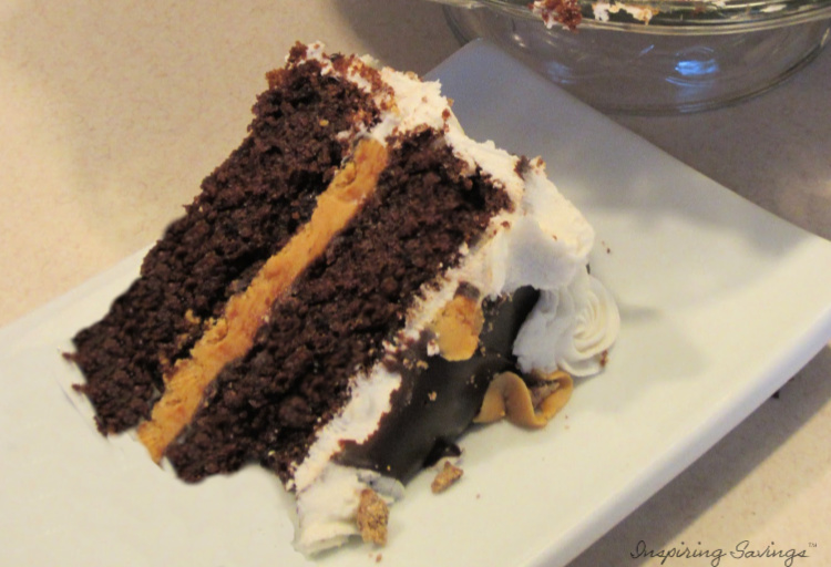 Slice of Chocolate Cake with Peanut Butter Frosting