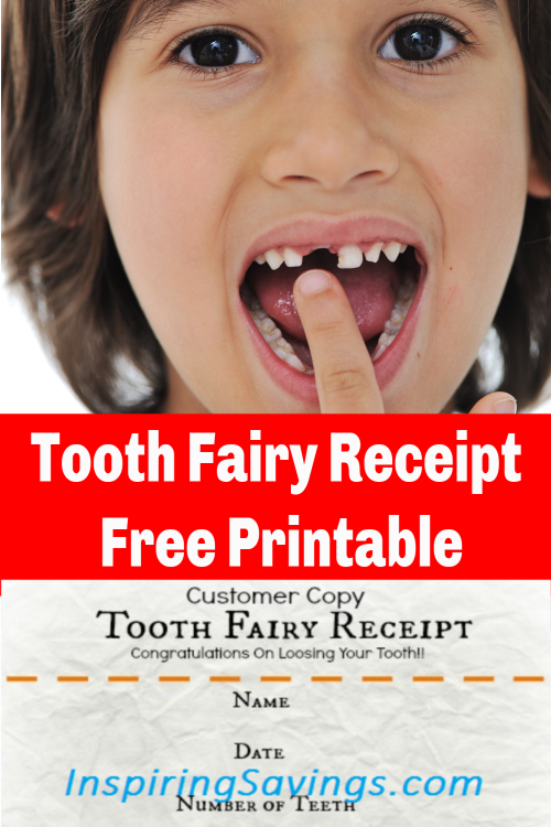 image of tooth fairy receipt and boy pointing to missing tooth