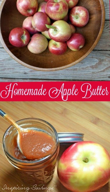 Collage of a bowl of apples & Homemade apple butter