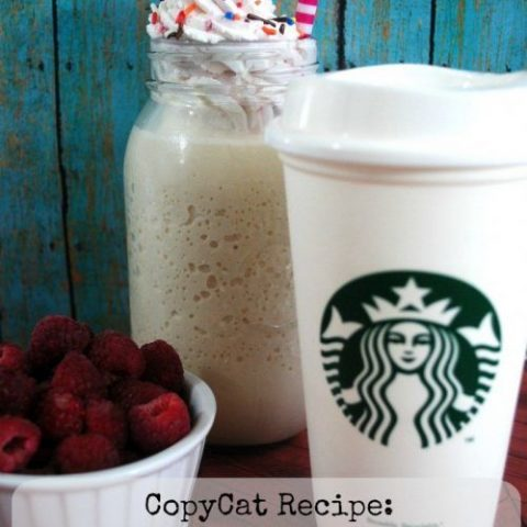Copycat Starbucks Birthday Frappuccino with Raspberry Topping