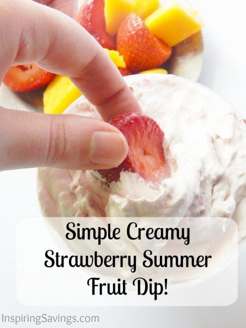 This creamy strawberry fruit dip has only four ingredients. If you want a simple dip that's the perfect complement to fruit, especially strawberries, try this one. This strawberry dip is made with cream cheese & cool whip