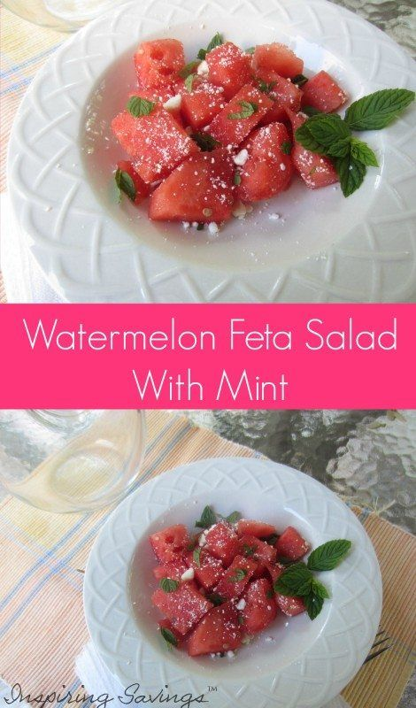 Sweet watermelon, fresh mint combine with rich feta cheese for a salad combination you will dream about! You'll love my Watermelon Feta Salad With Mint Recipe salad recipe. So refreshing! Perfect for your next bbq, potluck or summertime party.  #watermelon #salad #partyfood