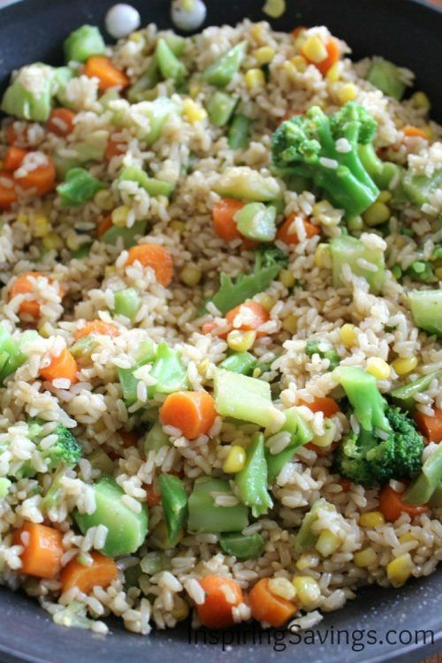 Cooked Brown Rice with mixed Chopped Vegetables