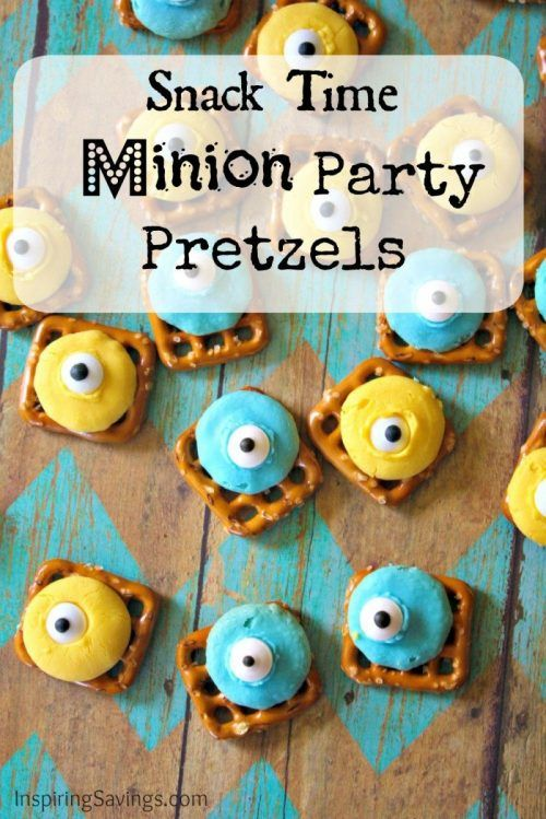 Celebrate all things Minions or Despicable Me with this Minions Snack! Your kids will love helping make this Easy Minion Chocolate Candy Pretzel Snack Recipe. Made with colored white chocolate candy melts & fun googly eyes. Delicious Pretzel Snack Recipe