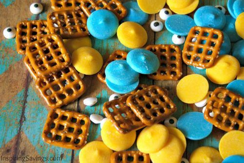 ingredients for minion snack mix - Pretzel Snack Recipe