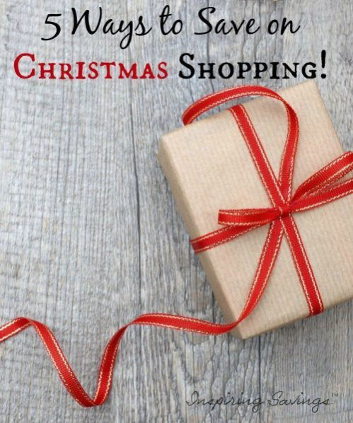 "wrapped Present with text overlay ""5 ways to save on christmas shopping"""
