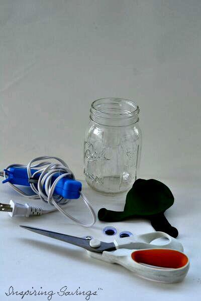 Supplies Needed for Frankenstein Mason Jar Beverage Cups.
