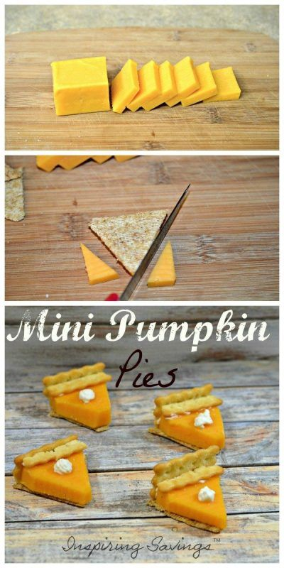 Mini Pumpkin Pies in the making - made with cheese & crackers