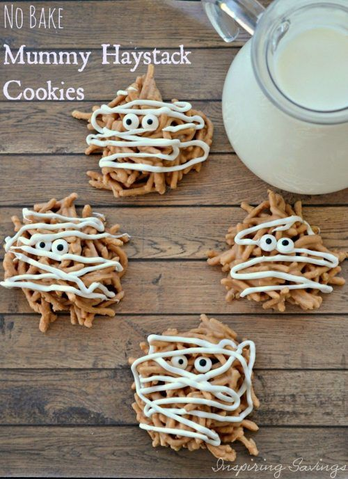 No Bake Mummy Haystack Cookies