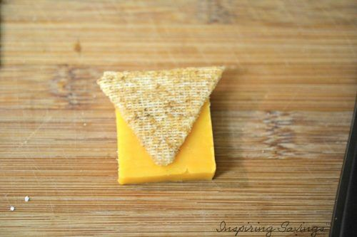 Cutting Cheese sliced in triangles
