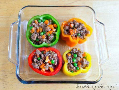 Multi colored peppers filled with Shepherd's pie meat filling