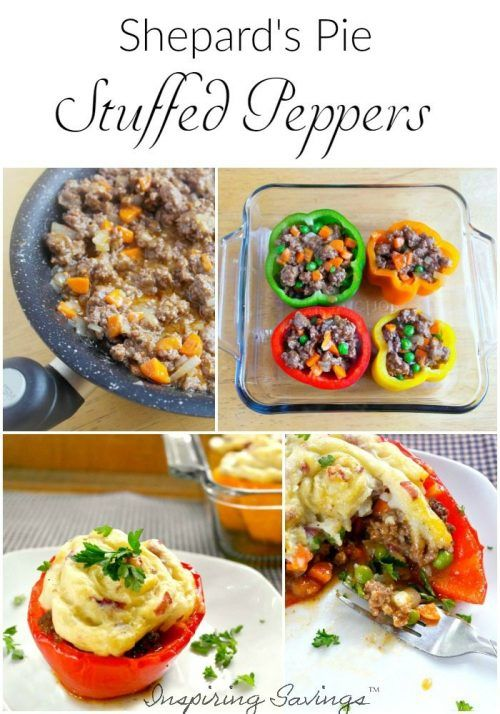 Collage pictures of Shephard's pie stuffed peppers