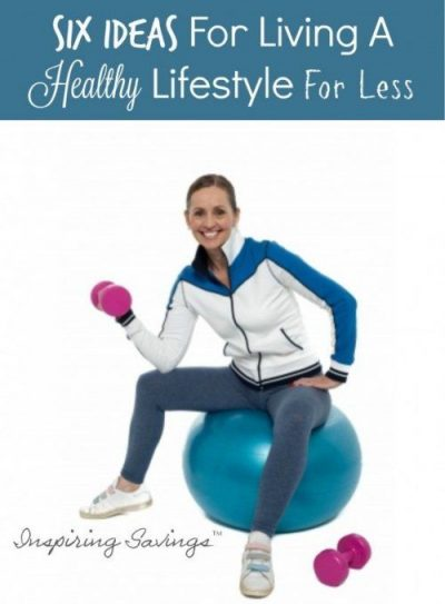 "Female sitting on yoga ball with weight in hand. Text overlay ""Healthy Lifestyle for less"""
