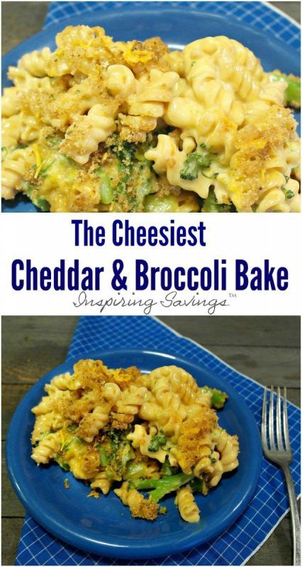 Cheesy Cheddar Broccoli Bake casserole spooned onto blue plate