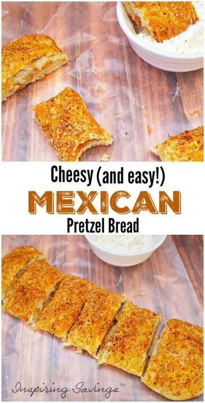 Pretzel Bread is a great appetizer or snack! This Cheesy Mexican Pretzel Bread with Chili Lime Dipping Sauce is a fun & fast favorite!