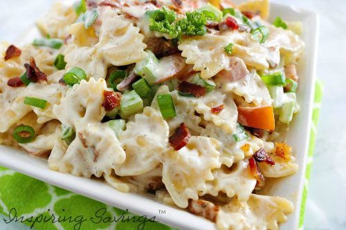 Ranch Pasta Salad with chicken & bacon on whole square bowl