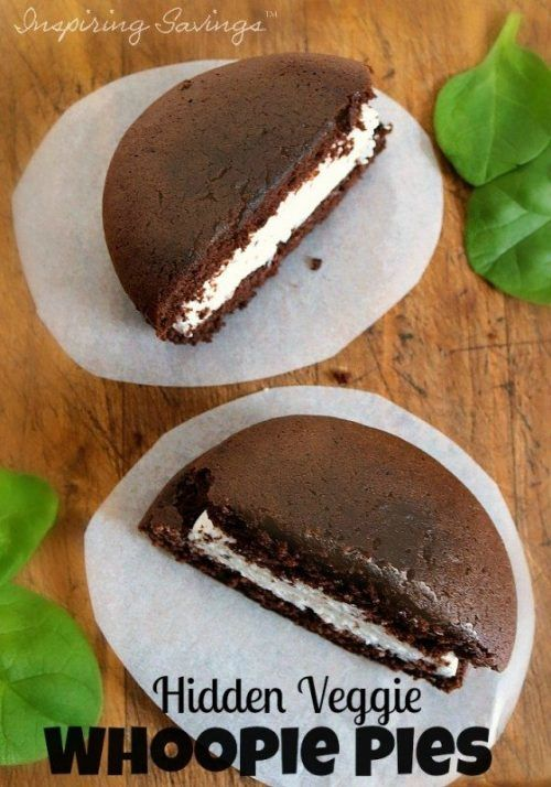 A recipe for healthy Hidden Veggie chocolate whoopie pies. A traditional recipe with a little twist. These delicious little cake-like cookies contain spinach.  Perfectly sweet with a rich chocolate cake and a creamy marshmallow filling. #chocolate #whoopiepies #cookies