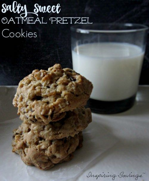 Salty Sweet oatmeal Pretzel cookies stacked with a glass of milk