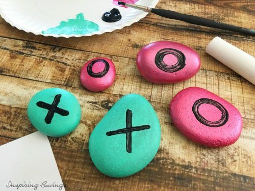 The last step in creating your very own Brightly colored Rock Tic Tac Toe Game