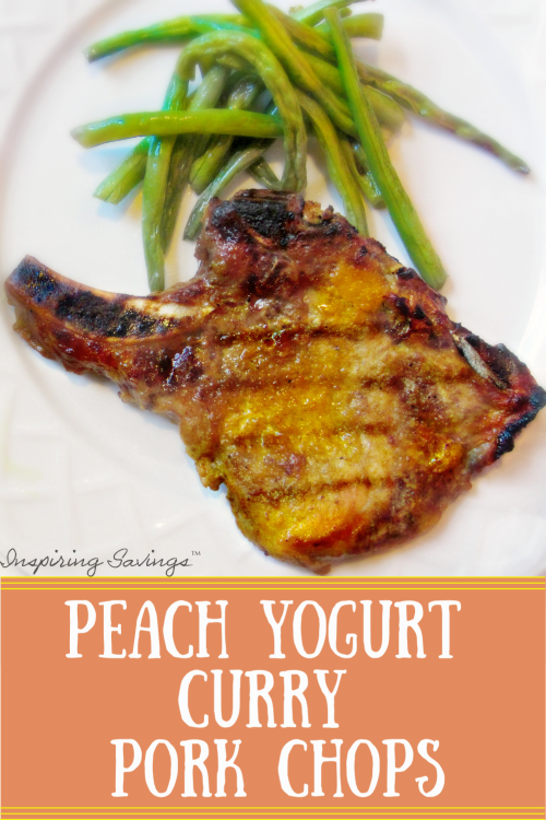 Grilled Peach Yogurt Curry Pork Chop on white plate with Green Beans