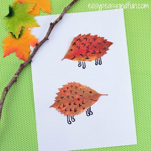 Hedgehogs Craft on green background