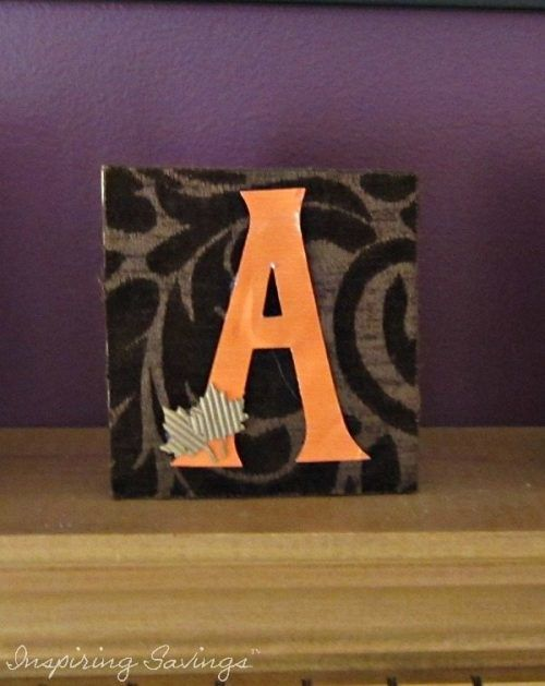 "Letter ""A"" Fall Decor on Fireplace mantel"