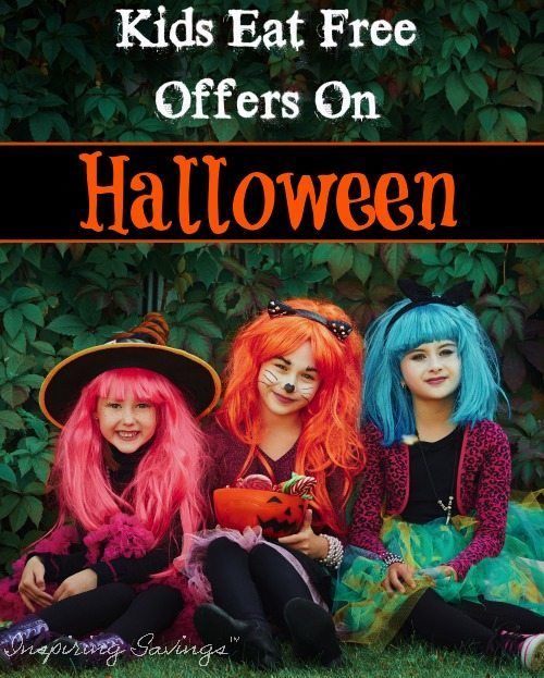 Little girls dressed up for halloween - Kids eat free offers