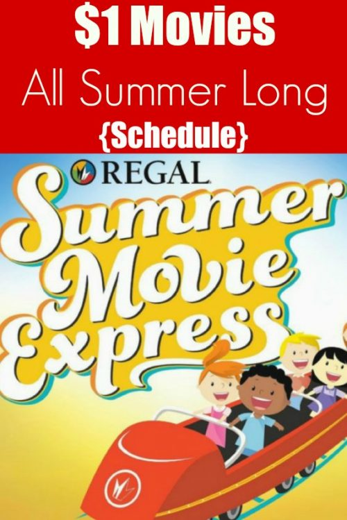 Regal Summer Movie Express Schedule 2018 - See $1 movies with the kids this summer! Regal movies play at 10 am on Tuesdays and Wednesdays throughout the summer. #summer #movies #Regal #theater #kids