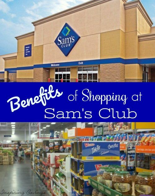 "Outside image of Sam's Club with Text overlay ""Benefits of Shopping at Sam's Club"""