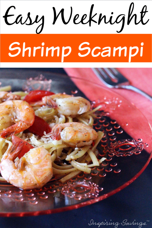 Shrimp Scampi meal on clear plate with fork