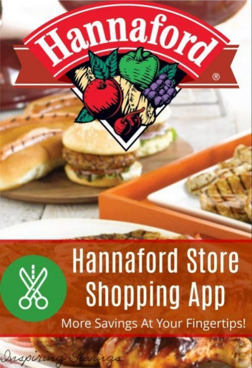 Hannaford store logo overlaying hamburgers in on table