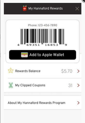 My Hannaford rewards barcode on smartphone