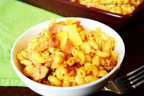 White Bowl Filled with Easy Southwest Bacon Mac & Cheese