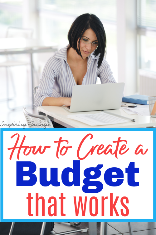 Woman sitting at desk in front of computer - create a budget