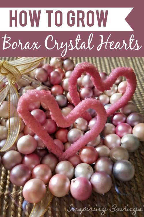 Borax Heart crystals in bowl with pink beads