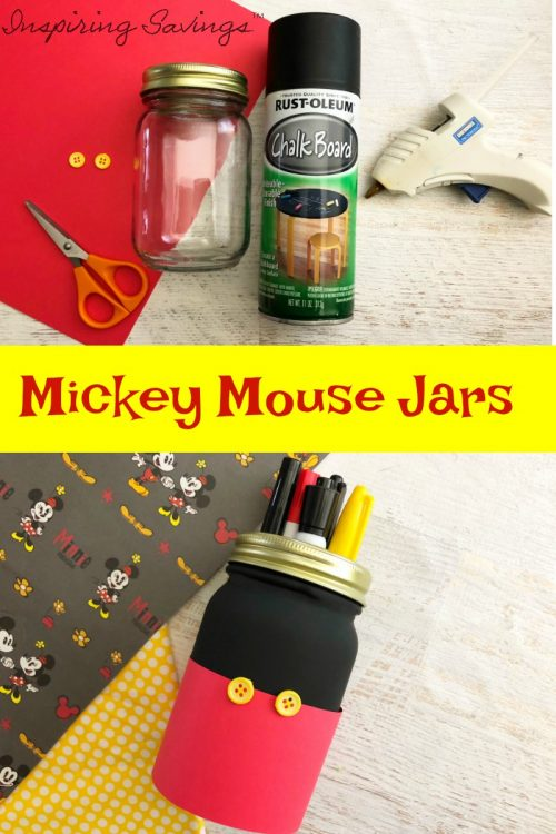 "If you have any Disney fans in your life, these Mickey Mouse Mason Jars are a must make! They are perfect for holding treats, supplies, using as a pencil jar, and can even be used as ""saving for Disney"" banks for the family!"