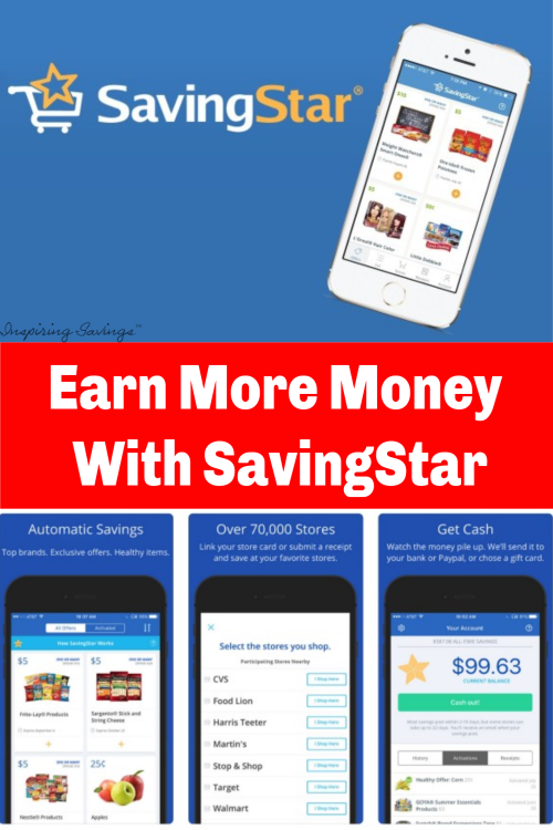 Earn cash back on your groceries with BIG SAVINGS on your favorite brands and produce items when you shop at your local grocery store. Use the SavingStar Rebate app and save even more money