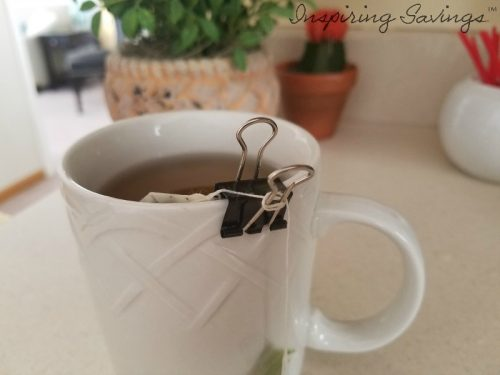 Binder clips for tea bags