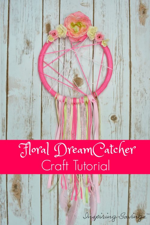 Looking for the perfect floral dreamcatcher? Why buy it when you can make it? Check out this complete step-by-step guide to make a floral dreamcatcher craft. Making a dreamcatcher is a fun project you can do by yourself or with friends. You will need a hoop, yarn, glue gun and decorative materials to create a basic dreamcatcher.  This will be the easiest and most adorable dreamcatcher you will ever see.. #dreamcatcher #craft #diy
