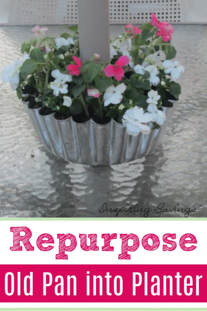 Old bundt Pan turned into flower planter