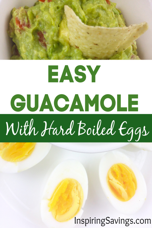 Guacamole in white bowl with sliced hard boiled eggs