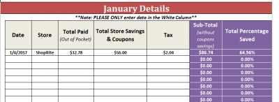 January - Grocery Savings Tracker