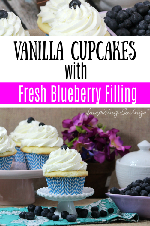 Blueberry Cupcakes on display with fresh blueberries